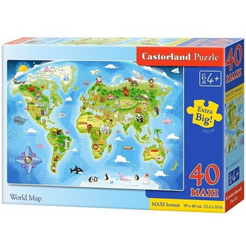 Világtérkép, 40 darabos Castorland Maxi puzzle