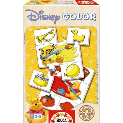Winnie the Pooh - Play With Colors, Educa wooden puzzle 4x5 pc