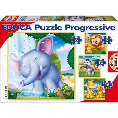 Wild Animals, Educa Progressive Puzzle 6-16 pc