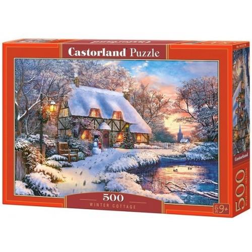 Ház karácsonyi hangulaban, 500 darabos Castorland Puzzle