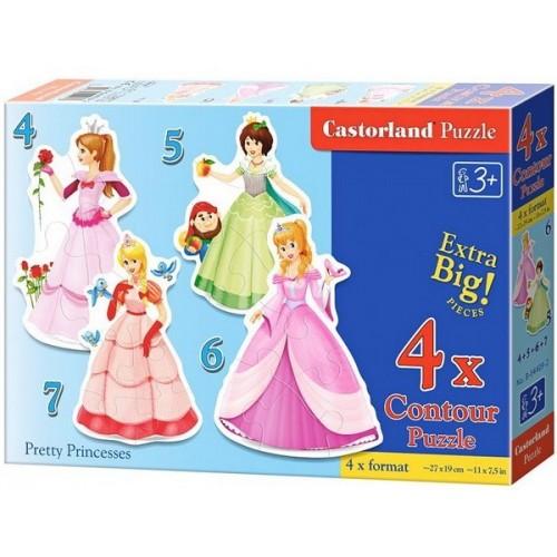 Pretty Princesses, Castorland 4x1 Puzzle 4-5-6-7pc