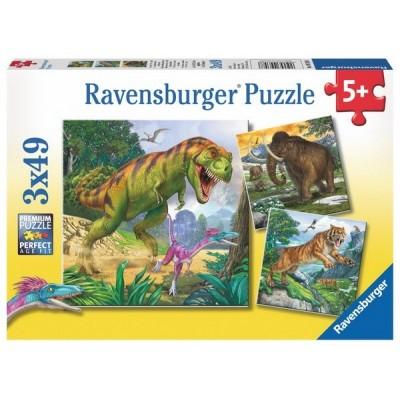 Letűnt korok állatai, Ravensburger 3 x 49 darabos gyermek puzzle