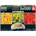 Exotic fruits and flowers, Educa Deco Puzzle 3x500 pcs