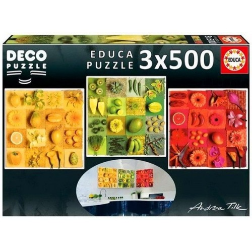 Exotic fruits and flowers, Educa Deco Puzzle 3x500 pcs