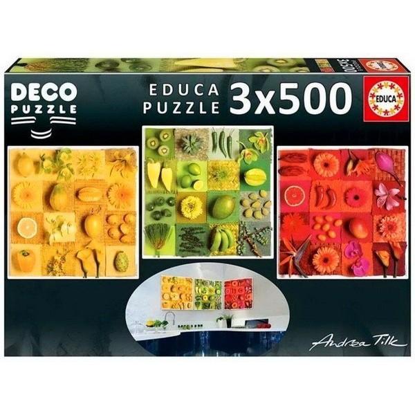 Egzotikus gyümölcsök és virágok, Educa 3x500 darabos Deco Puzzle