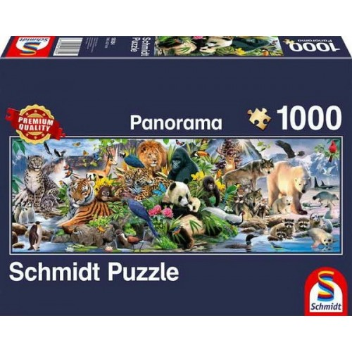 Colorful animal kingdom, Schmidt panorama puzzle, 1000 pcs
