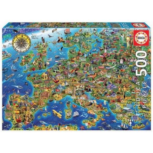 Sokszínű Európa, 500 darabos Educa puzzle