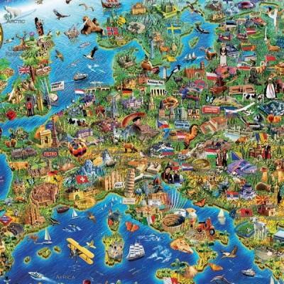 Crazy European Map, Educa Puzzle 500 pcs