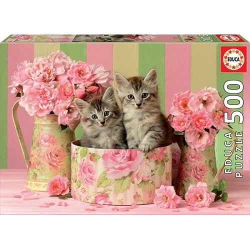 Cicák és a rózsák, 500 darabos Educa puzzle