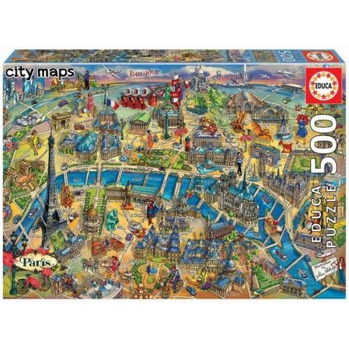 Párizs - Rajzos várostérkép, 500 darabos Educa puzzle