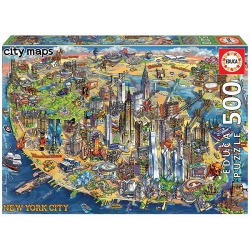 New York - Rajzos várostérkép, 500 darabos Educa puzzle