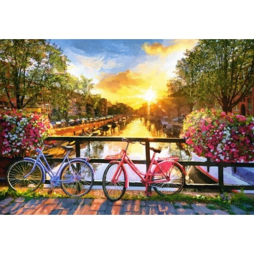 Picturesque Amsterdam with Bicycles, Castorland Puzzle 1000 pc