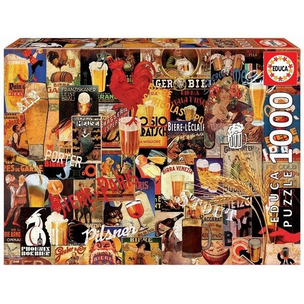 Vintage Beer Collage, Educa puzzle 1000 pcs