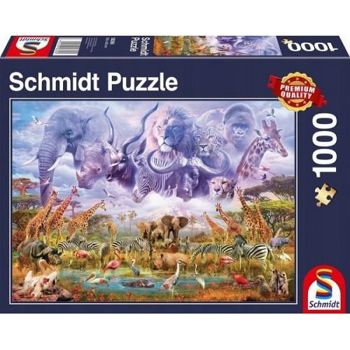 Állatsereglet az ivóhelyen, 1000 darabos Schmidt puzzle