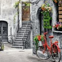 Charming Alley With Red Bicycle, Castorland Puzzle 500 pcs