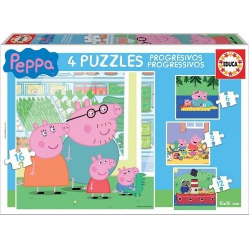 Peppa malac, 4 az 1-ben - 6, 9, 12, 16 darabos Educa puzzle