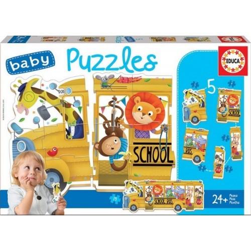 School Bus - 5 in 1, Educa Baby puzzle, 5-4-4-3-3 pc