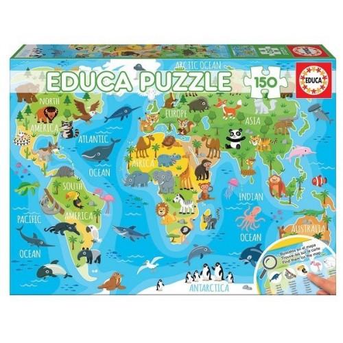 Állatos világtérkép gyerekeknek, 150 darabos Educa puzzle