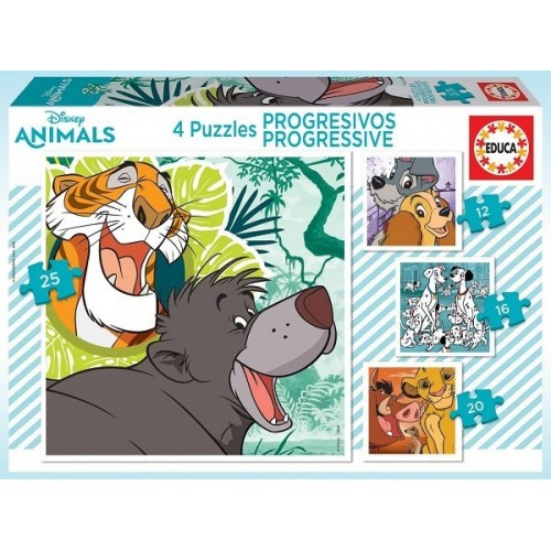 Disney állatfigurák, 12-16-20-25 darabos Educa puzzle